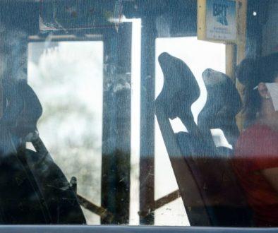 Passageira em ônibus no Rio de Janeiro.