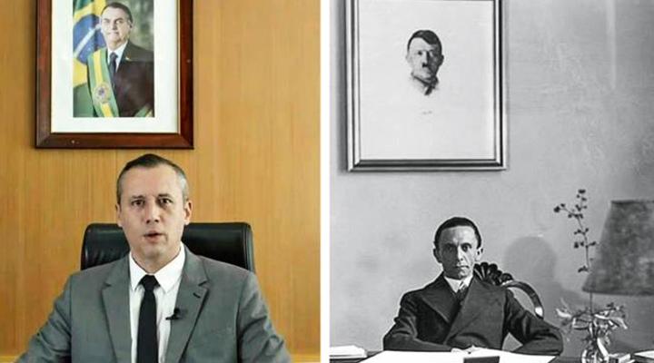 Roberto Alvim, ex-secretário Nacional de Cultura, e Joseph Goebbels, ministro da Propaganda na Alemanha Nazista de Adolf Hitler