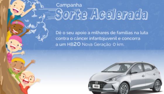 Campanha sorteia carro e beneficia instituições na luta contra câncer infantojuvenil