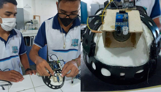 Alunos do Ceará criam capacete com sensor para pessoas cegas